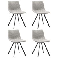 vidaXL Dining Chairs 4 pcs Light Grey Faux Leather
