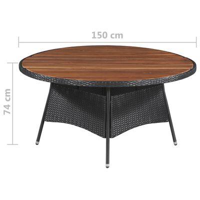 vidaXL Garden Table 150x74 cm Poly Rattan and Solid Acacia Wood