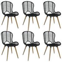 vidaXL Dining Chairs 6 pcs Black Natural Rattan
