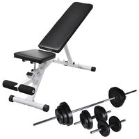 vidaXL Workout Bench with Barbell and Dumbbell Set 30.5 kg