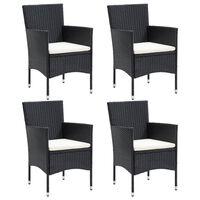 vidaXL Garden Dining Chairs 4 pcs Poly Rattan Black