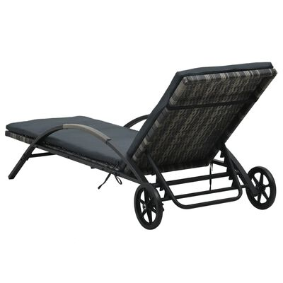 vidaXL Sun Lounger with Cushion & Wheels Poly Rattan Anthracite