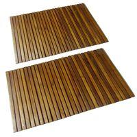 2 pcs Acacia Bath Mat 80 x 50 cm