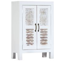 vidaXL Carved Sideboard White 60x30x89 cm Solid Mango Wood