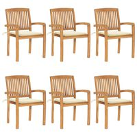 vidaXL Stacking Garden Chairs with Cushions 6 pcs Solid Teak Wood