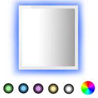 vidaXL LED Bathroom Mirror High Gloss White 40x8.5x37 cm Chipboard