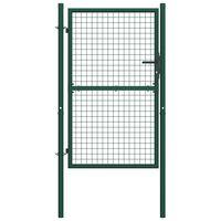 vidaXL Fence Gate Steel 100x200 cm Green