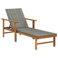 vidaXL Sun Lounger Poly Rattan and Solid Acacia Wood Grey