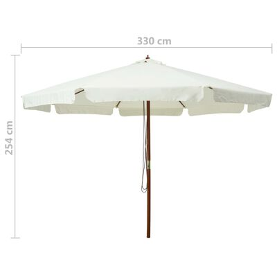 vidaXL Outdoor Parasol with Wooden Pole 330 cm Sand White