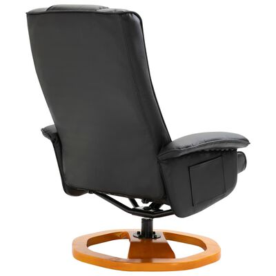 vidaXL Swivel TV Armchair with Foot Stool Black Faux Leather
