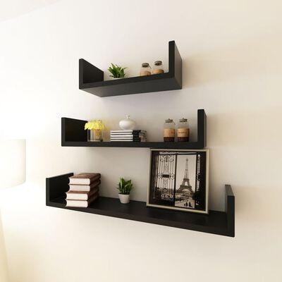 3 Black MDF U-shaped Floating Wall Display Shelves Book/DVD Storage