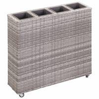 vidaXL Garden Raised Bed with 4 Pots 80x22x79 cm Poly Rattan Grey