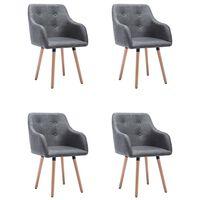 vidaXL Dining Chairs 4 pcs Dark Grey Fabric