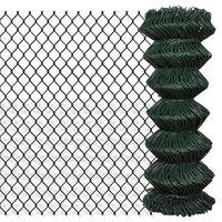 140344 vidaXL Chain Link Fence Steel 1x15 m Green