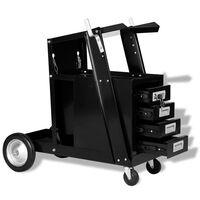 vidaXL Welding Cart with 4 Drawers Black