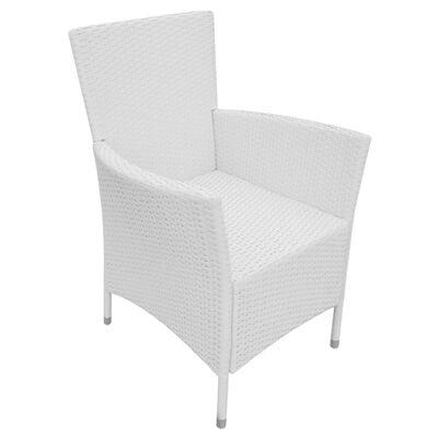 vidaXL Garden Chairs 2 pcs with Cushions Poly Rattan Cream White