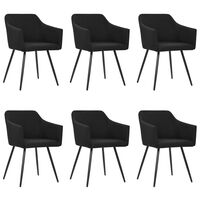 vidaXL Dining Chairs 6 pcs Black Fabric