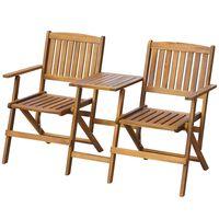 vidaXL Folding Garden Bench with Tea Table 140 cm Solid Acacia Wood