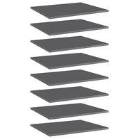 vidaXL Bookshelf Boards 8 pcs High Gloss Grey 60x50x1.5 cm Chipboard