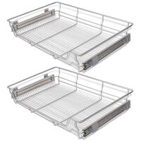 vidaXL Pull-Out Wire Baskets 2 pcs Silver 800 mm