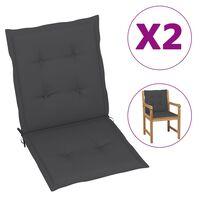 47548 vidaXL Garden Chair Cushions 2 pcs Anthracite 100x50x4 cm