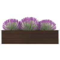 vidaXL Raised Garden Bed 320x40x77 cm Galvanised Steel Brown