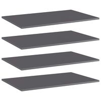 vidaXL Bookshelf Boards 4 pcs High Gloss Grey 80x50x1.5 cm Chipboard