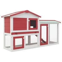 vidaXL Outdoor Large Rabbit Hutch Red and White 145x45x85 cm Wood