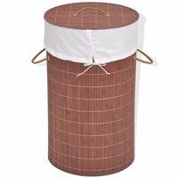 vidaXL Bamboo Laundry Bin Round Brown
