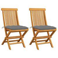 vidaXL Garden Chairs with Grey Cushions 2 pcs Solid Teak Wood