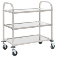 vidaXL 3-Tier Kitchen Trolley 96.5x55x90 cm Stainless Steel