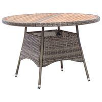 vidaXL Garden Table Grey 115x74 cm Poly Rattan and Acacia Wood