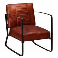 vidaXL Lounge Chair Brown Genuine Leather