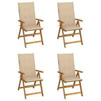 vidaXL Garden Reclining Chairs 4 pcs with Cushions Solid Acacia Wood