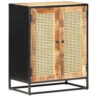 vidaXL Sideboard 60x35x75 cm Rough Mango Wood and Natural Cane