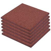 vidaXL Fall Protection Tiles 6 pcs Rubber 50x50x3 cm Red
