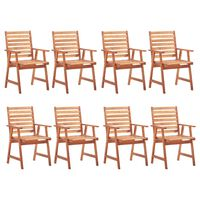 vidaXL Outdoor Dining Chairs 8 pcs Solid Acacia Wood