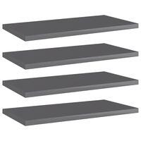 vidaXL Bookshelf Boards 4 pcs High Gloss Grey 40x20x1.5 cm Chipboard