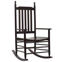 vidaXL Rocking Chair with Curved Seat Brown Poplar Wood
