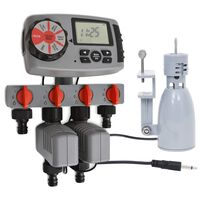 vidaXL Automatic Water Timer with 4 Stations and Rain Sensor 3 V