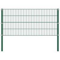 vidaXL Fence Panel with Posts Iron 1.7 m Green