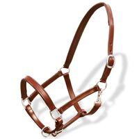 vidaXL Real Leather Headcollar Stable Halter Adjustable Brown Cob