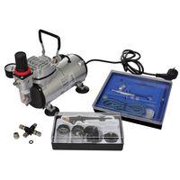 vidaXL Airbrush Compressor Set with 2 Pistols