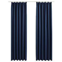 vidaXL Blackout Curtains with Hooks 2 pcs Blue 140x245 cm
