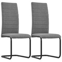 vidaXL Cantilever Dining Chairs 2 pcs Light Grey Fabric