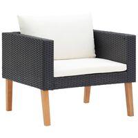vidaXL Single Garden Sofa with Cushions Poly Rattan Black
