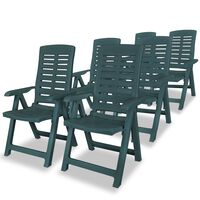 vidaXL Reclining Garden Chairs 6 pcs Plastic Green