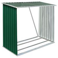 vidaXL Garden Log Storage Shed Galvanised Steel 163x83x154 cm Green