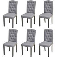 vidaXL Dining Chairs 6 pcs Light Grey Fabric