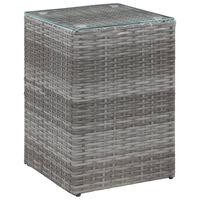 vidaXL Side Table with Glass Top Grey 35x35x52 cm Poly Rattan